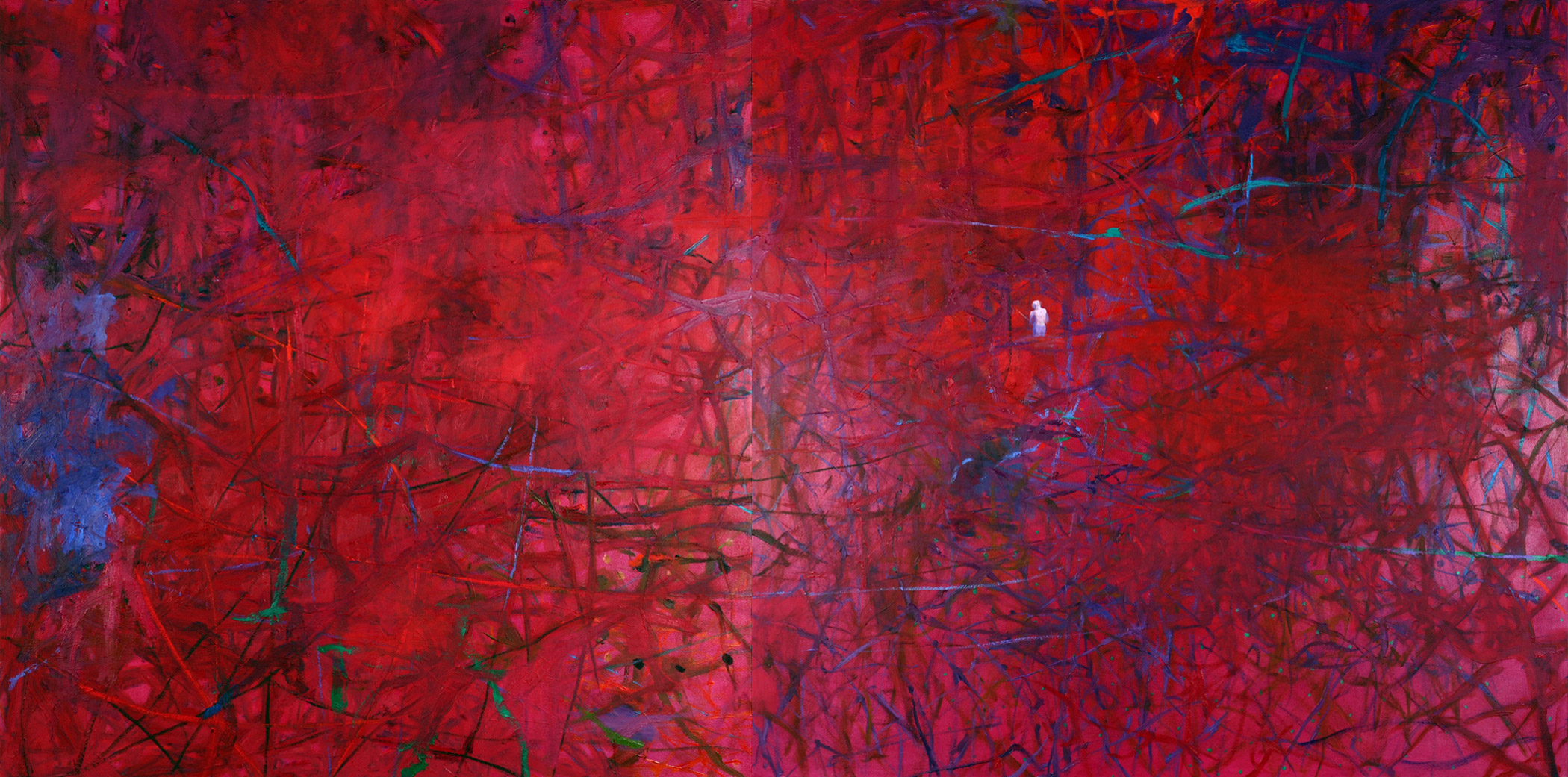 Deep Rose (diptych)  Left panel: 50 × 48 inches 127 × 122 cm Right panel: 50 x 52 inches 127 × 132 cm Complete diptych: 100 inches 254 cm wide Oil on canvas 2007OK