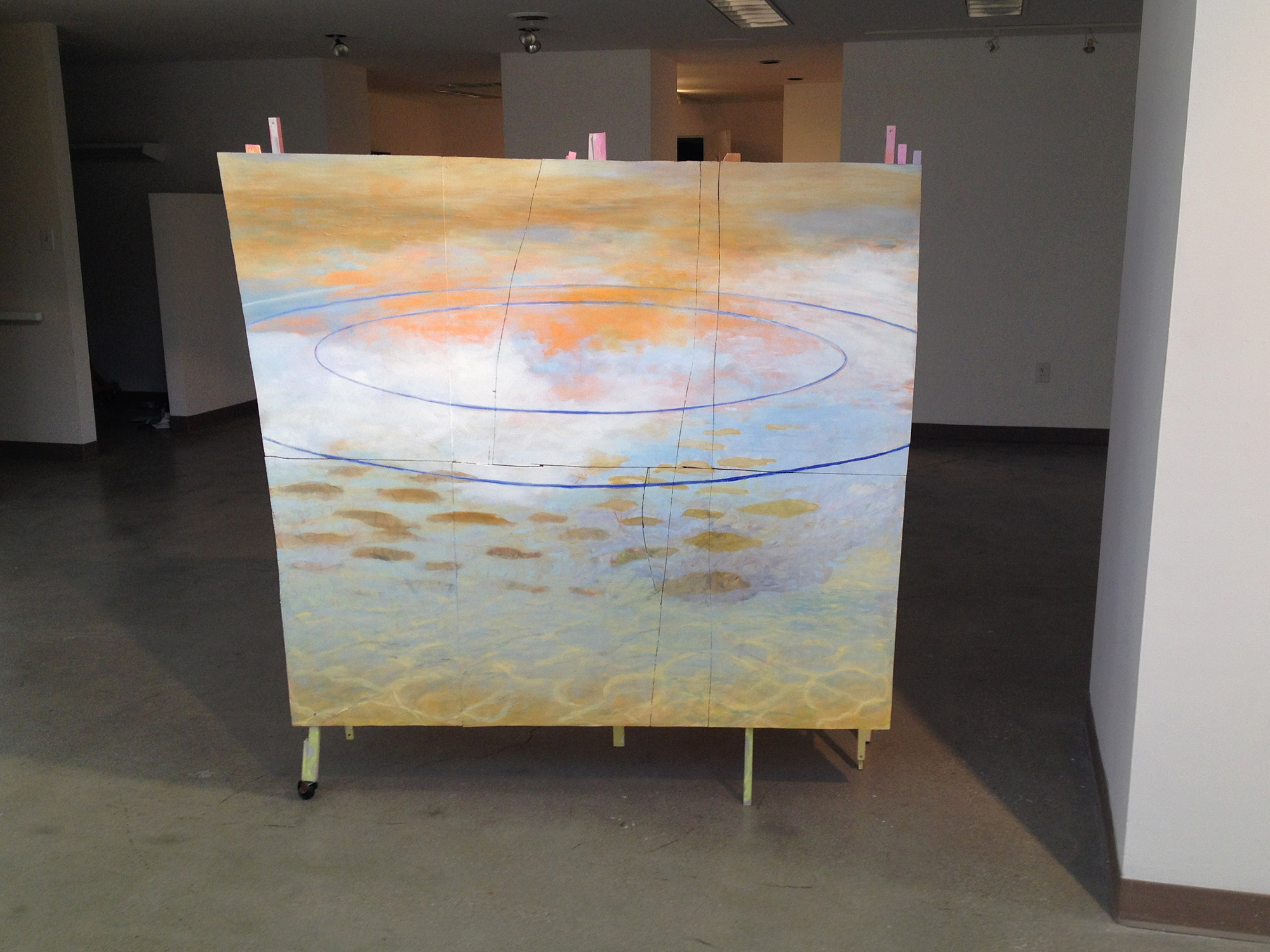 Standing in Water V   Oil and acrylic on wood, wheels 65 × 59 × 62 inches 165 × 150 × 157 cm 2015