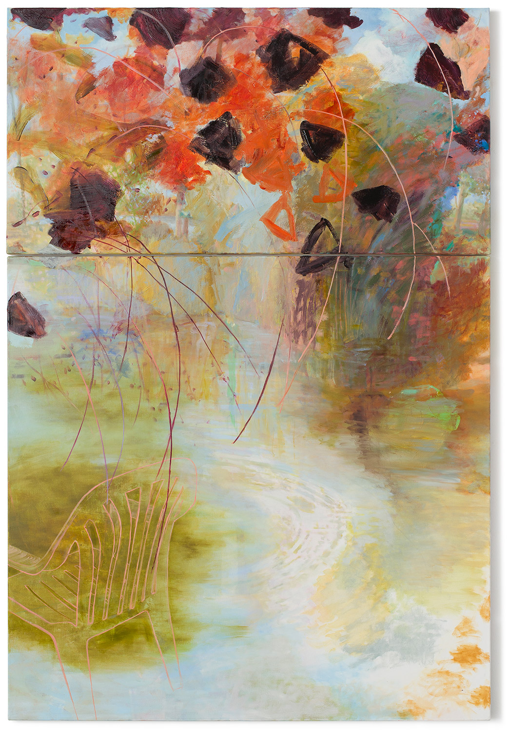 The Temperature of the Air V   Upper panel: 29 × 57 inches 73.7 × 144.8 cm Lower panel: 55 × 57 inches 139.7 × 144.8 cm Total dimensions: 85 × 57 inches 215 × 146 cm Oil on canvas 2013