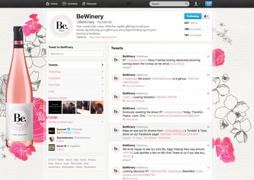 Be Wines: Twitter Presence