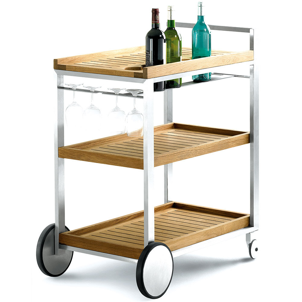 Jane_Hamley_Wells_BIBI_BI4558_outdoor_indoor_wheeled_serving_cart_teak_shelves_on_stainless_steel_frame.jpg