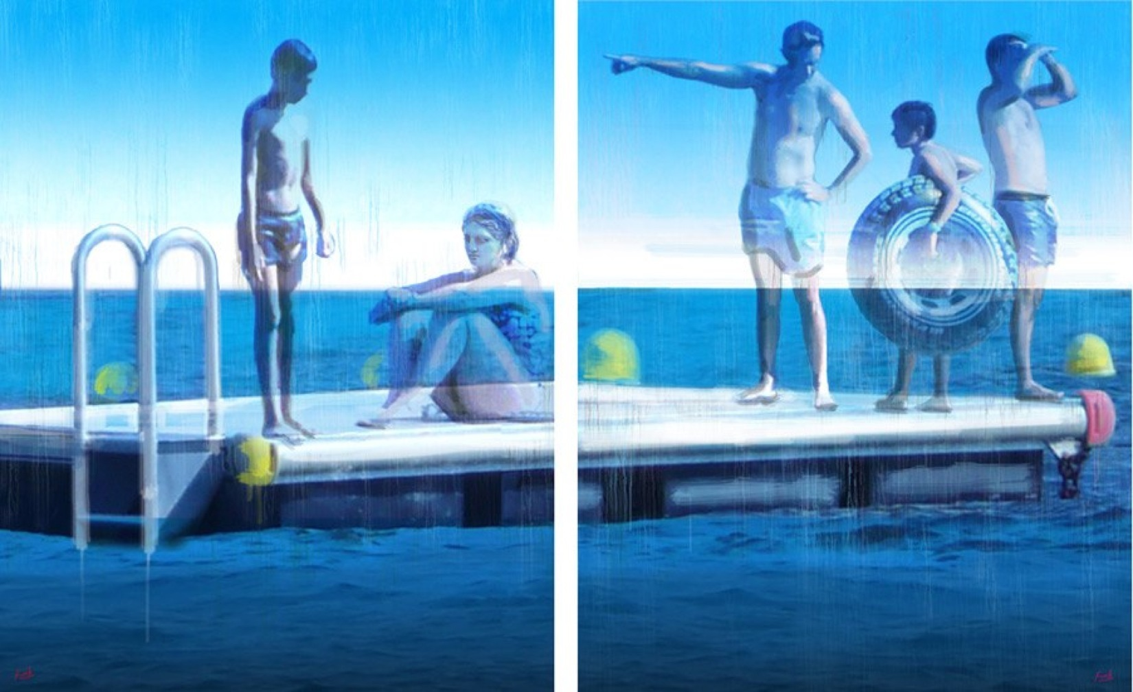 The island by mia funk oil on canvas (diptych), 2 x 162 x 130cm