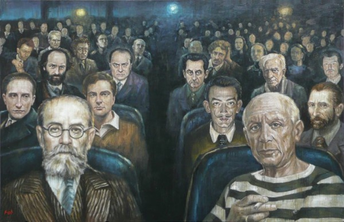 l'audience by mia funk oil on canvas, 68 x 105cm  Prix de peinture, salon d'automne de paris
