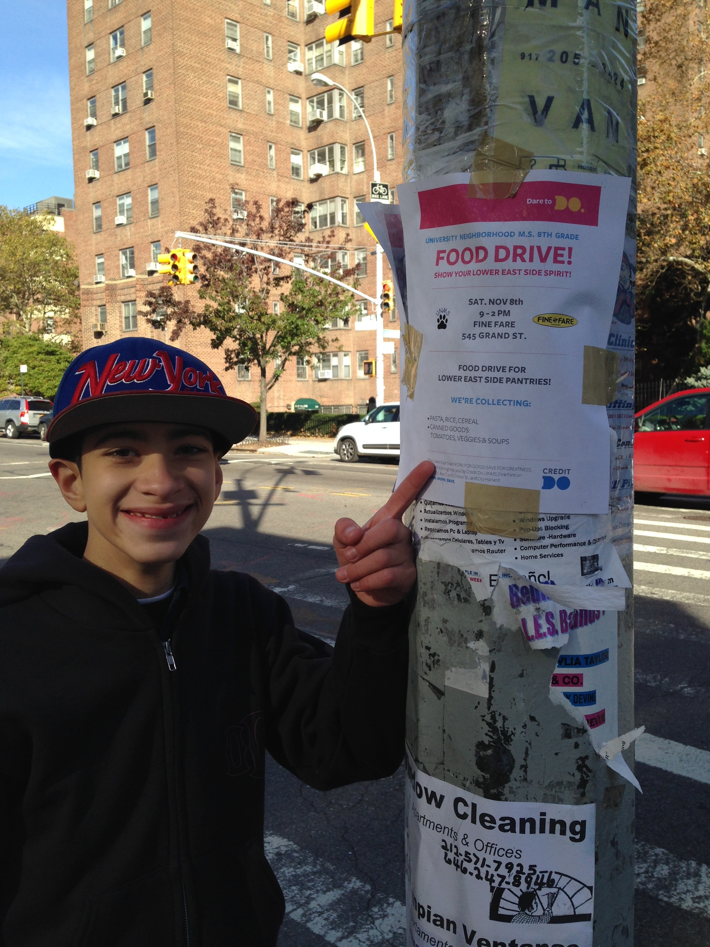 Elliot attends a food drive to earn a match into his college savings account.