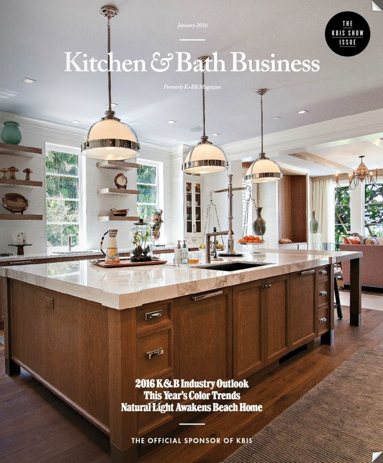 The work of SWP Cabinetry recently featured on the cover of the newly designed Kitchen and Bath Business Magazine.    The sophisticated North Lake Way project, maximizes natural light and a coastal view using clean lines and a coastal palette.