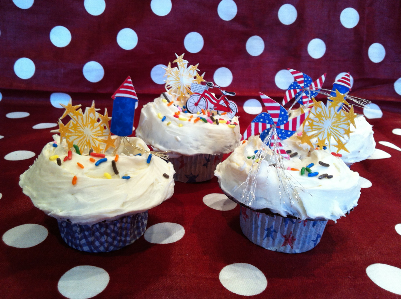 Cupcake, You're a Firework!  It just takes a little time and effort for a festive and fun cupcake dessert for the 4th of July. Take you favorite recipe and frist with  Vanilla Buttercream , plenty of it too. This is what make a cupcake with eating. My recipe for a generous and creamy frosting follows below.   Line your cupcake tins with any variation of red, white, and blue cupcake papers. I got these on sale at  Sur La Table . I also picked up colored sprinkles because they remind me of fireworks. Katy Perry's song has been going through my head all day.   Whatever recipe you use, make sure the cupcakes are cooled completely before frosting.    Vanilla Buttercream (This make a generous amount of frosting) 1 pound of Unsalted Butter  2 boxes of Confectioner's Sugar 2 teaspoons Pure Vanilla Extra 2-4 tablespoons Heavy Cream     Let butter stand at room temperature for 30 minutes. Cream butter and add Confectioner's Sugar, vanilla and heavy cream until desired. Frost in variations you prefer and add anything that looks like fireworks, colored sugar, edible glitter…          The important thing is that you make the effort to BE Goddess and put a smile on everyone's face!     Happy 4th of July!!!!