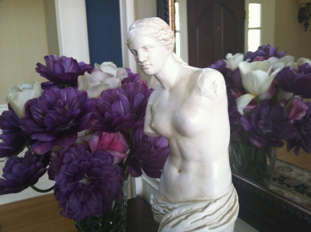 The goddess Demeter is renewing nature for the spring. The Chocolate Goddess loves her purple multi-layered tulips!