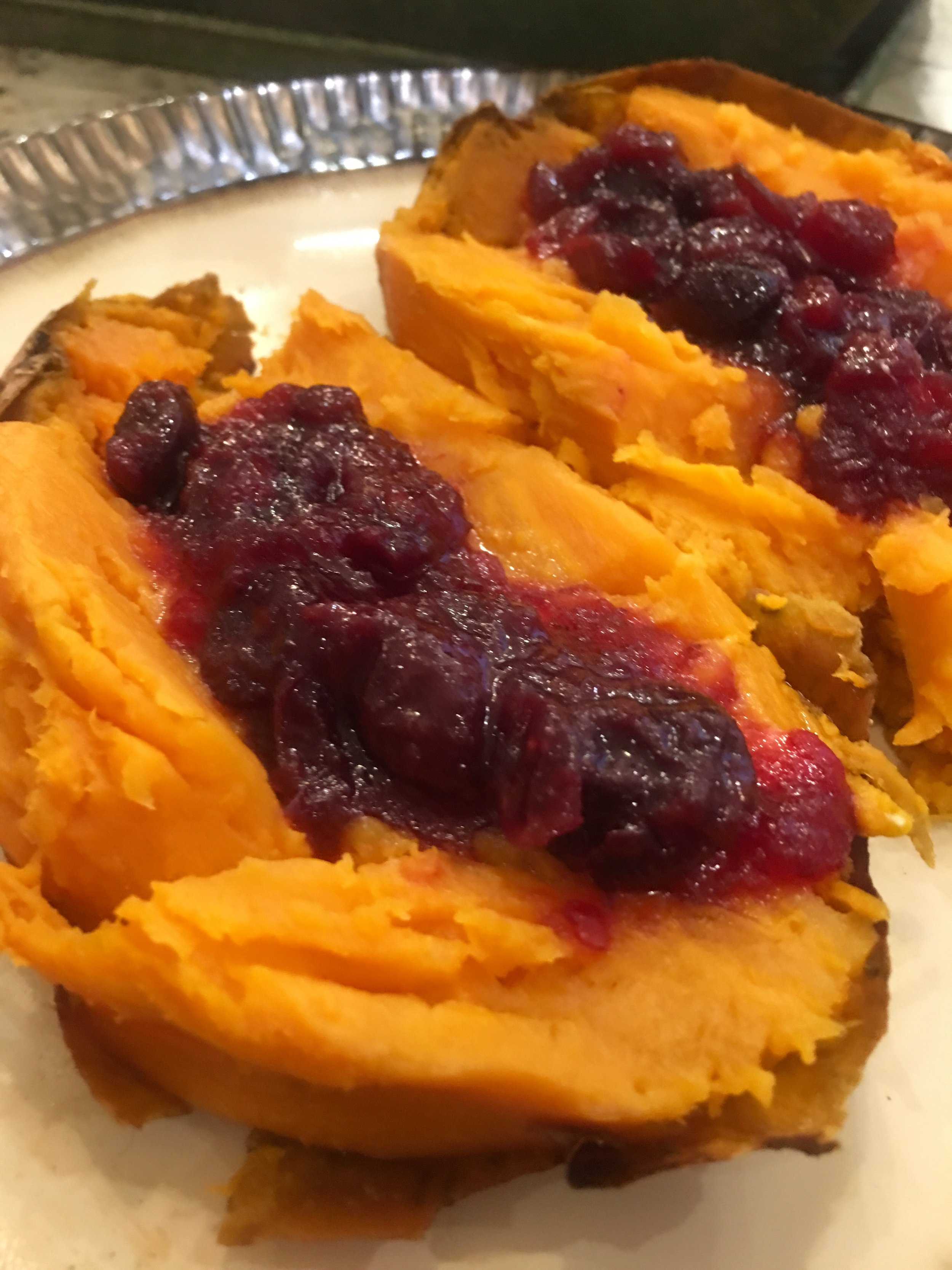 Cherry Orange Cranberry Sauce on Sweet potatoes is a spectacular flavor combination.