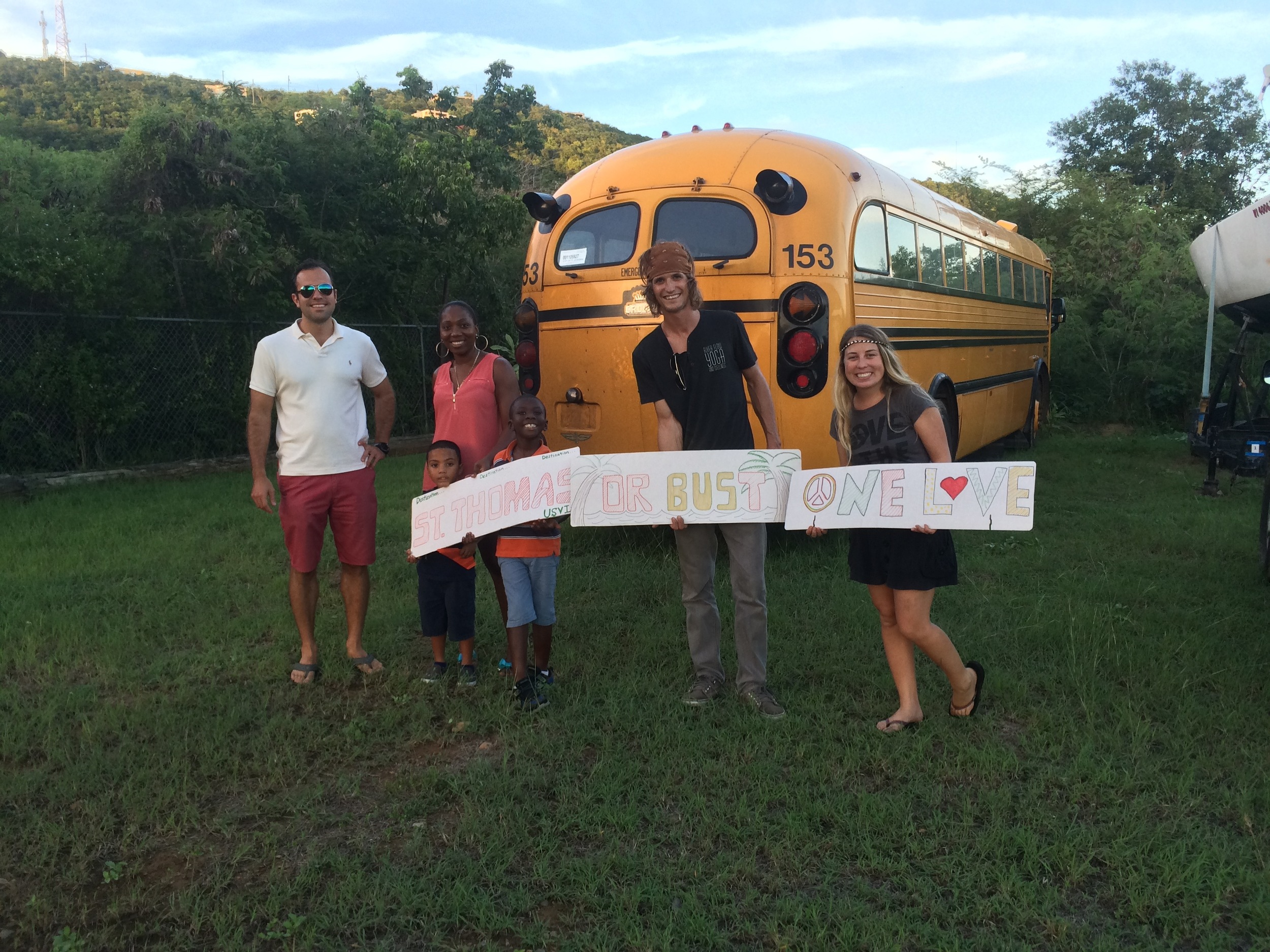 Amanda's little cousins DG and Cordell got a big kick out of the bus when it arrived on island. Adults got a kick out of it too ;)
