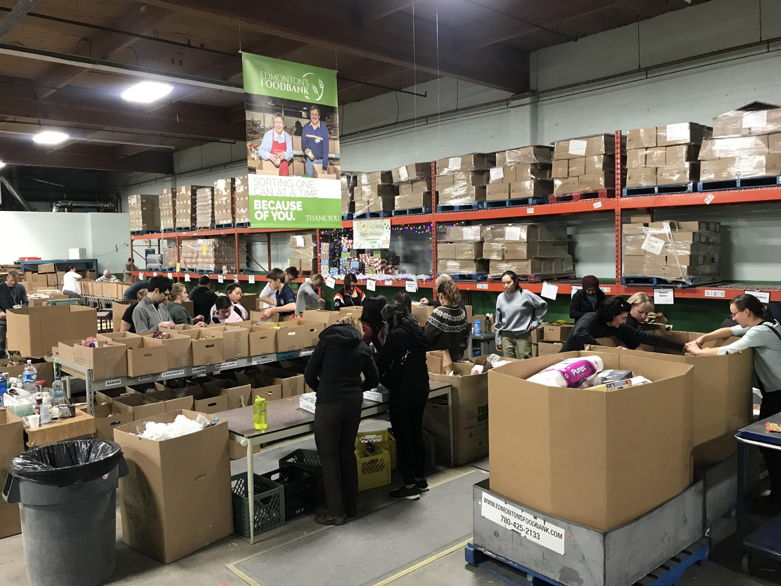 Volunteers sorting donations at the Food Bank
