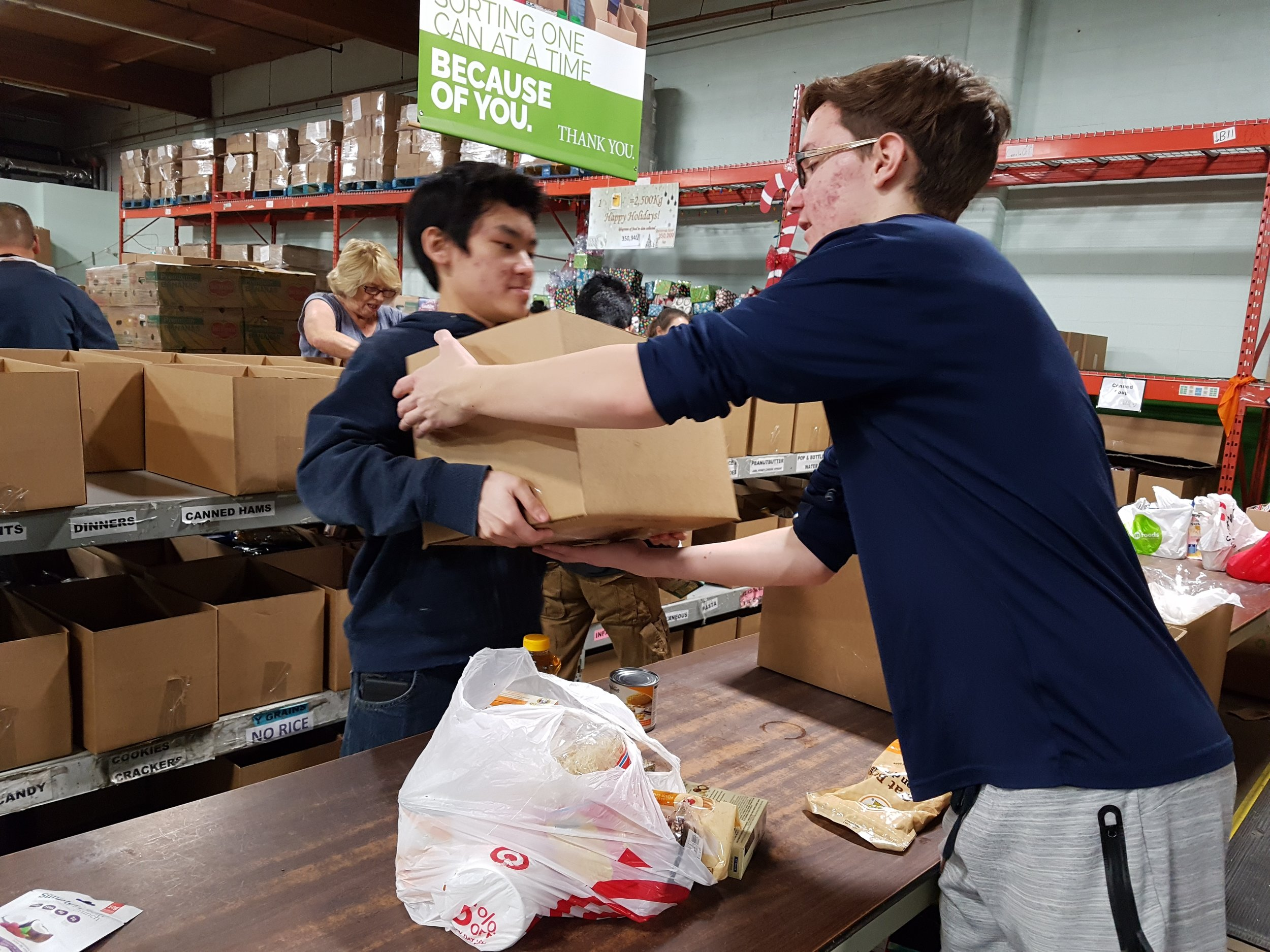 High School students helping out at Edmonton Food Bank