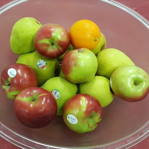 A bowl of apples in the hallway for any student to help themselves
