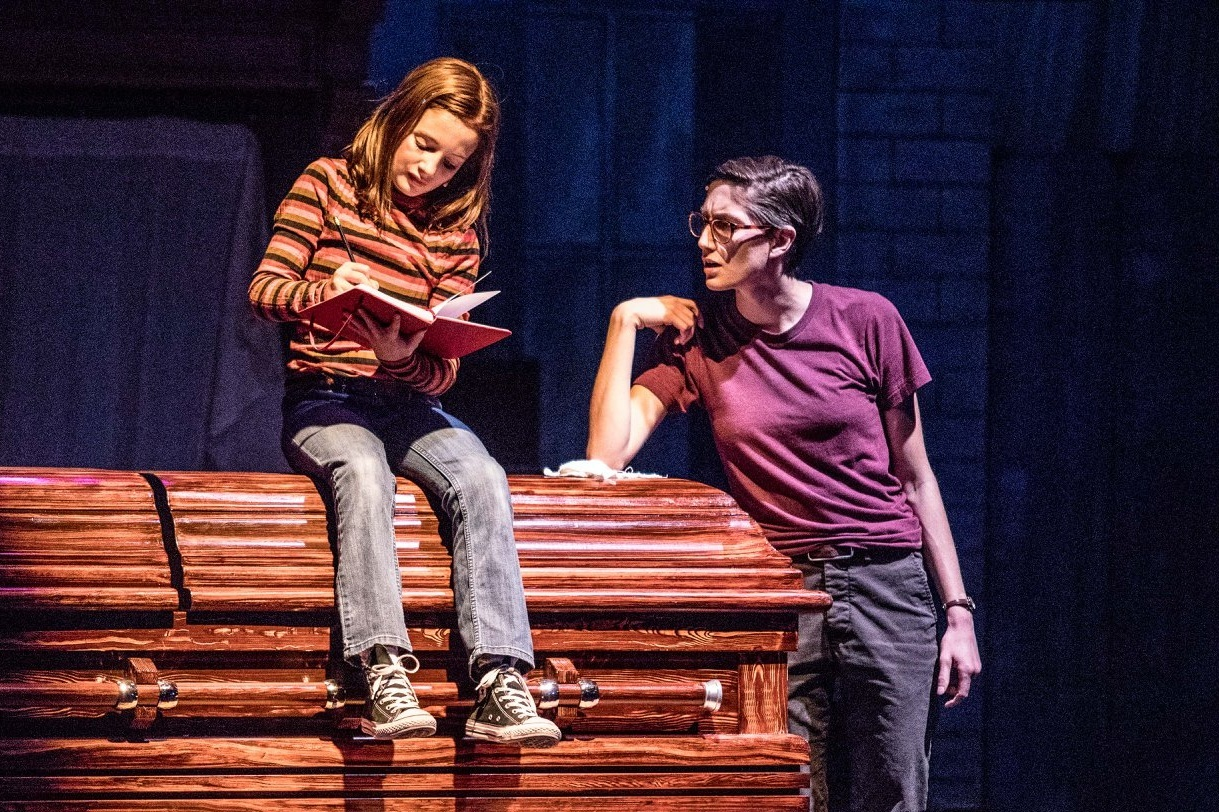 River Navaille as Alison Bechdel in 'Fun Home' with Colette Gsell as Small Alison. Pacific Repertory Theater, 2018. Photo by Patrick Tregenza.