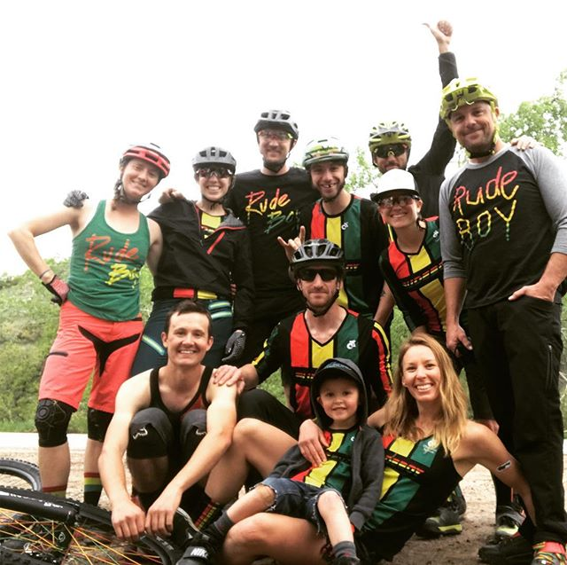 Beautiful day to celebrate Moms day (@ebethinc ) and to send off @cake_ballins and @chaihowareyou. @teamrudeboy303 style.  #herodirt #mothersday #mountainbiking #teamrudeboy303 #brandcompliant #matchymatchy #rasta