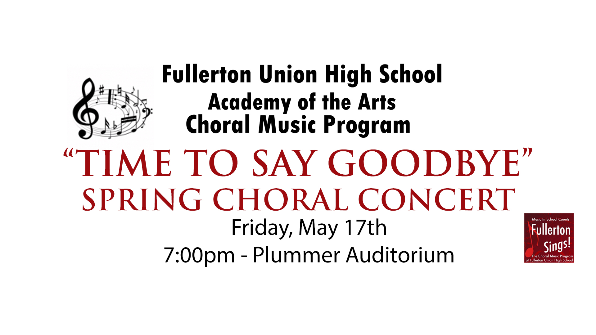 """Tickets are $10.00 per person. Student tickets will be available at the door for $5.00  Tickets available at  fuhs.booktix.com   SPECIAL: Buy a ticket to the Spring Choral Concert and Get a ticket for the Alumni Reunion Concert on May 18th for half off. Select """"Spring & Alumni Concert $15.00""""     Download the VIP Ticket Order Form"""
