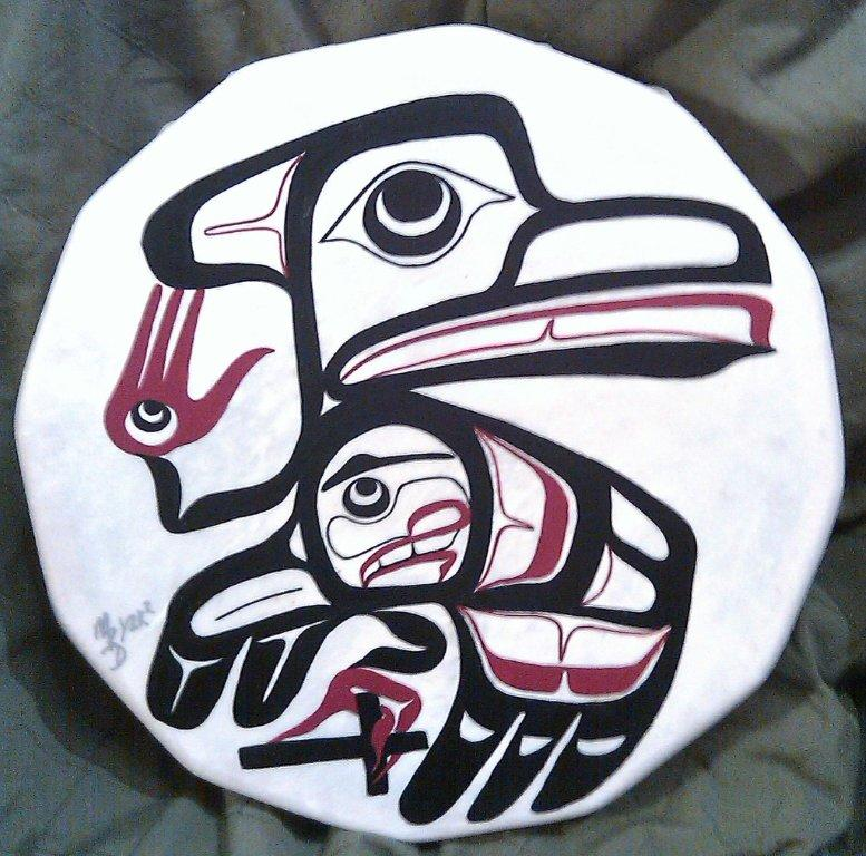 The drum in my office (logo) shows my Tlingit name, which means 'helping hand'.