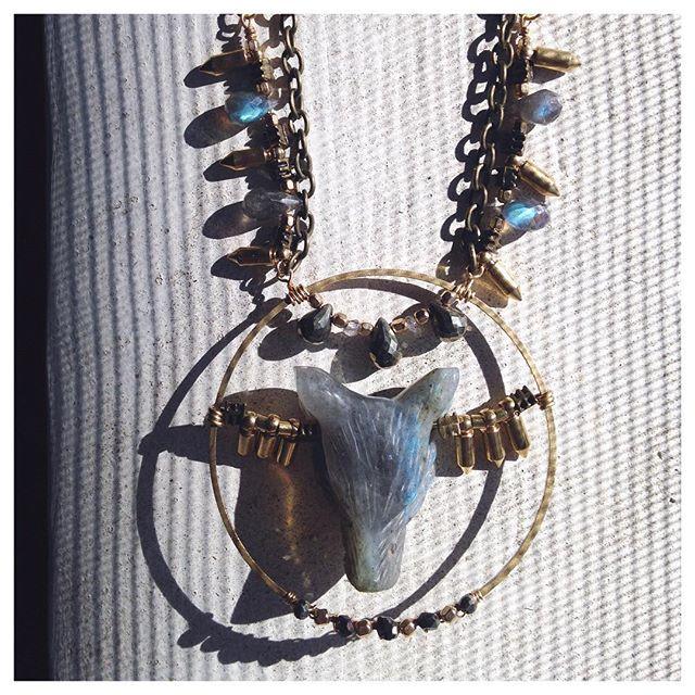 Labradorite Wolf Necklace.