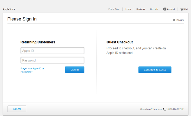 An example of guest checkout.