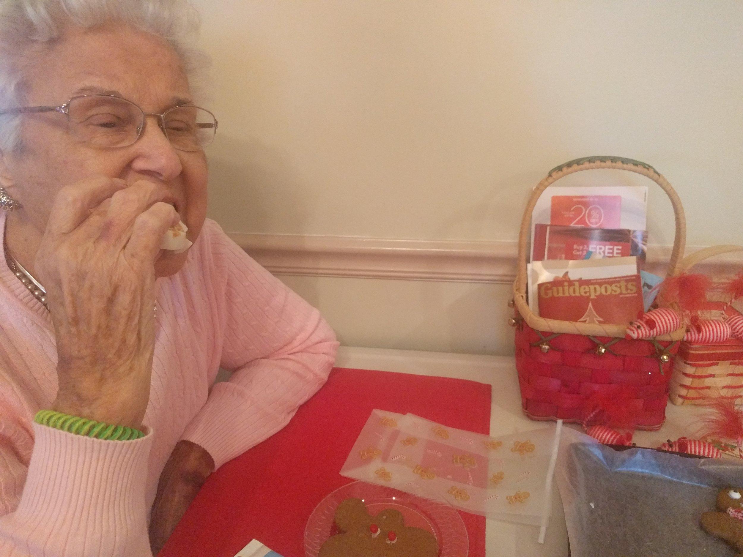 Grandmom gets the first bite!
