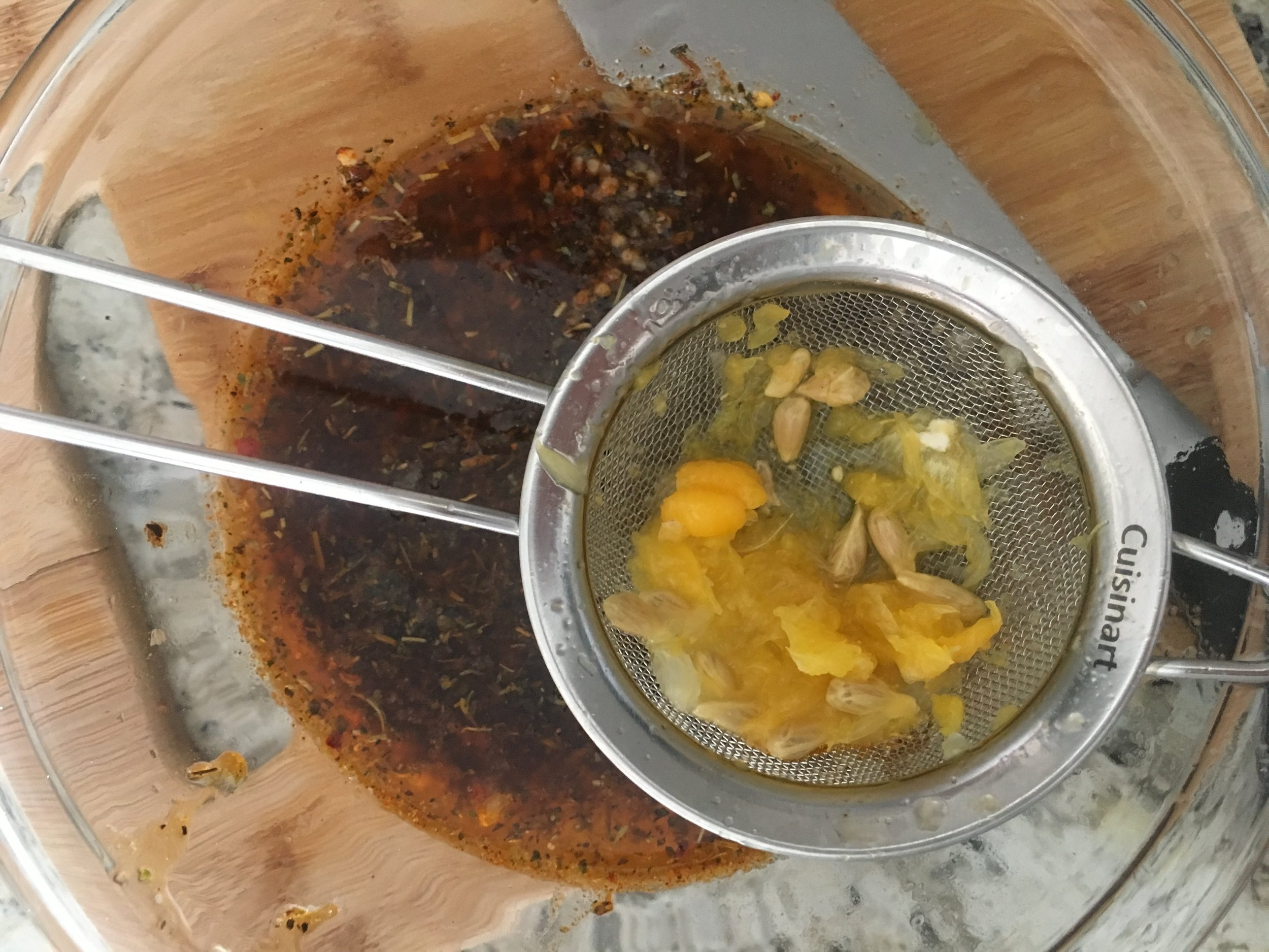 I didn't have a juicer so I used this small strainer to make sure no seeds got into my bowl.