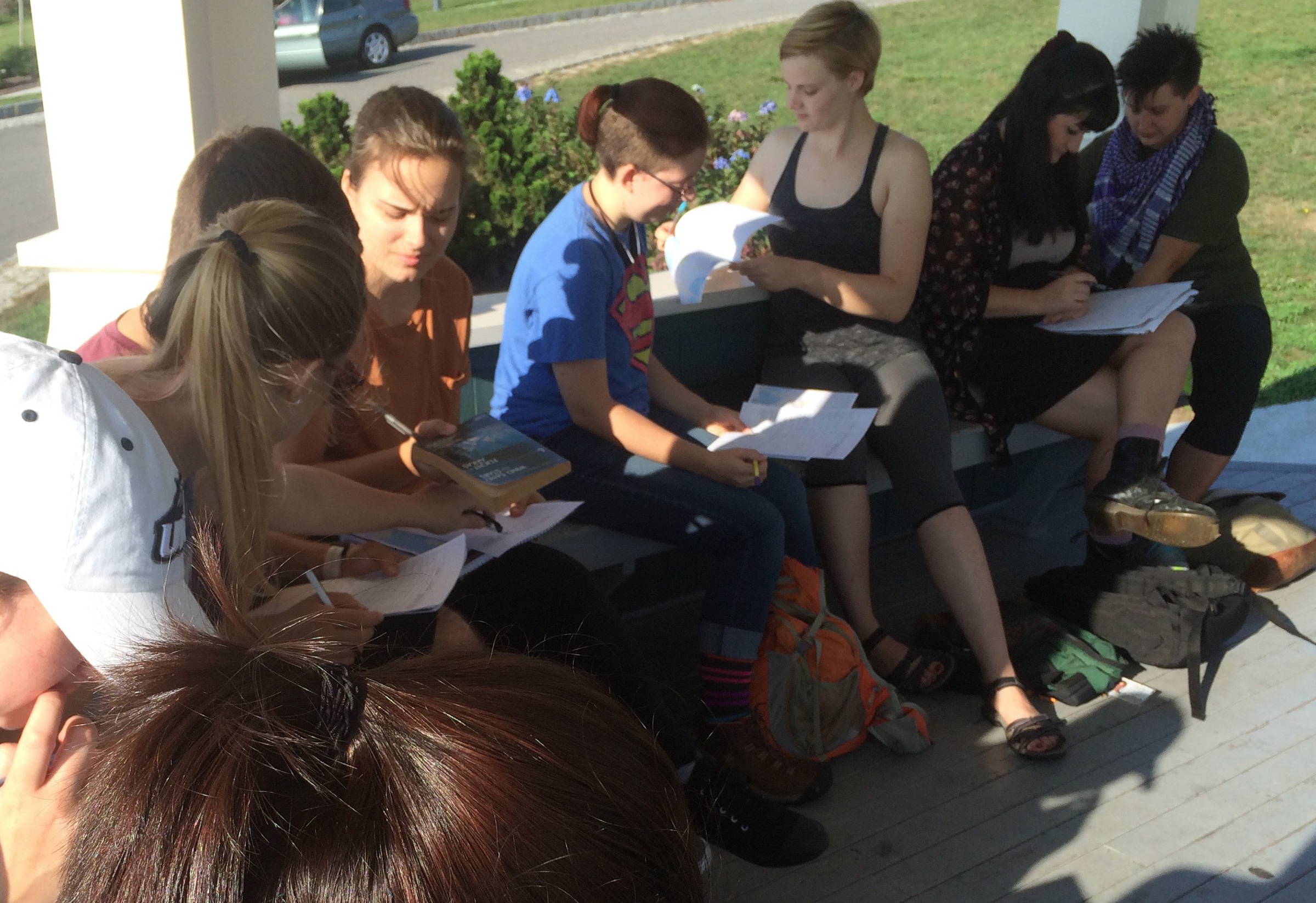 Students mapping their daily trajectories on the Eastern Prom, Portland ME