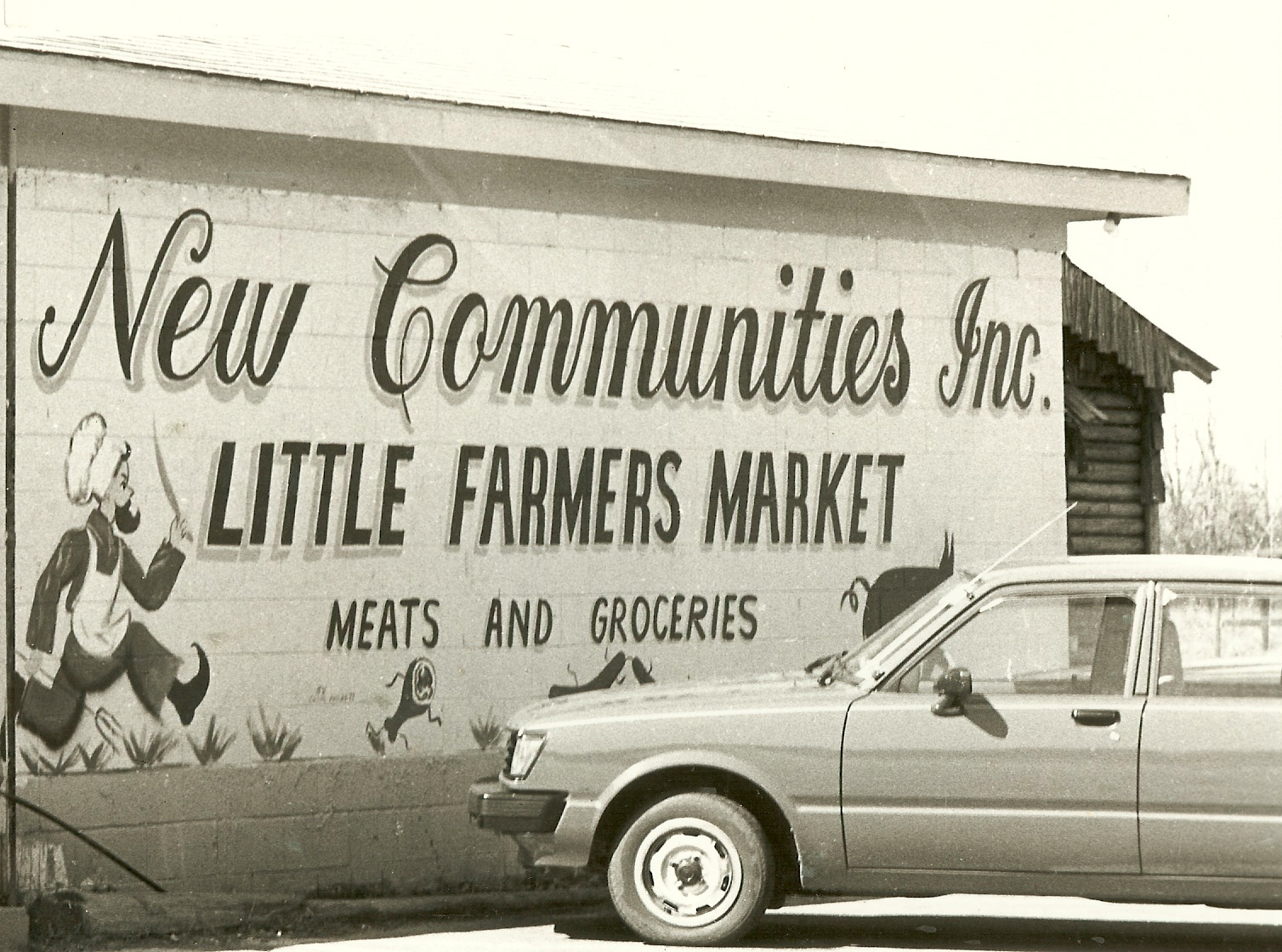 The New Communities store sold produce that was grown on the farm as well as meats that were smoked there.  Photo Credit: New Communities