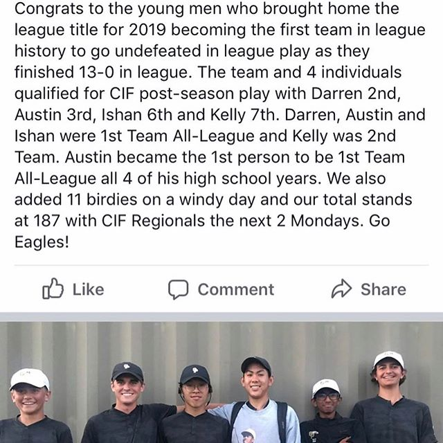 Big shoutout to all of my guys who are competing in first round of CIF today! These 4 guys (@exquisiteethan, @darrenchiu2021.golf, @_austinliu and @kellydobsongolf) all put in hardworking this offseason to get where they are. Good luck guys!  #WSPFamily #WestlakeSportsPerformanceAndFitness