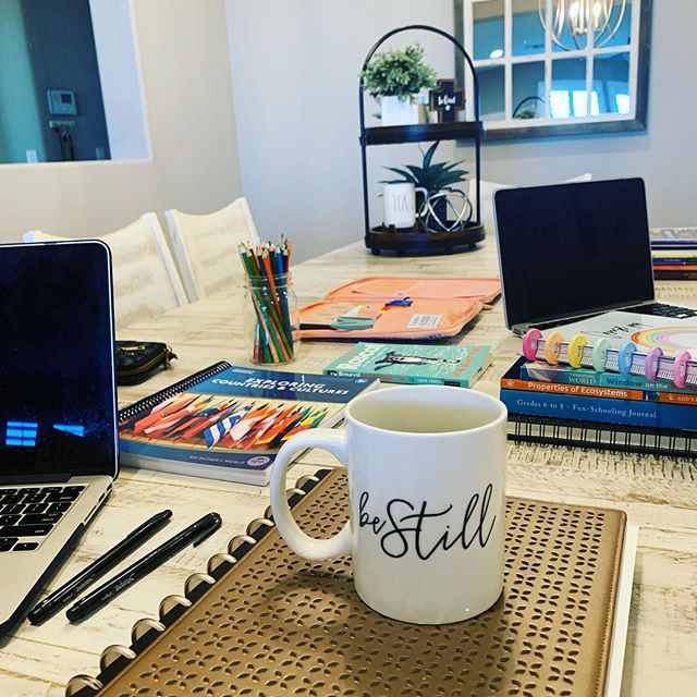 BE STILL. A morning reminder and a daily decision. Sometimes it seems impossible, but at the end of the day it is a choice! My table is covered in books, as we dive into another year of homeschooling. My computer is filed with emails to respond to regarding our upcoming women's retreat for nearly 700 women and my planner is filled with meetings and reminders for all things church planting. Most evenings we are either bundled up at the ice rink for Noah's hockey practice or sitting with the dance moms as Maddie chases her dream. Life is busy. BUT when I can carve out time with God to just be still - I am able find peace in the middle of the chaos.  Sometimes I choose wisely and God goes before me directing every step. Other times I let the overwhelming to do list get the best of me and I dive into the chaos alone. Today I choose to trust, slow down and be still! #bestill #homeschool #thathomeschoollife #myfathersworld #churchplantlife #peaceinthechaos #choosewisely #hockeymom #dancemom #mondaymotivation