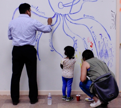 Tom Limon (Great Commercial Broker), his fabulous wife Christy Johnson-Limon and genius daughter got to draw on the walls!