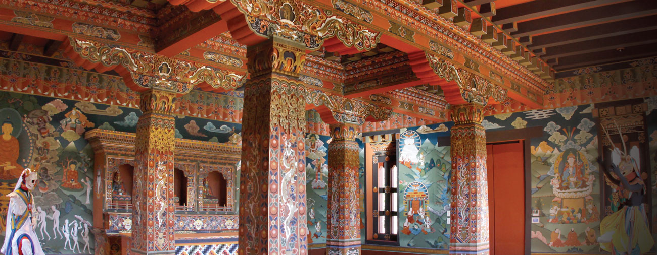 The interior walls of the Lhakhang are covered with floor-to-ceiling, brightly colored paintings that contain examples of Bhutanese iconography very rarely seen outside of the remote Himalayan kingdom and that invite study and reflection to discover their significance.