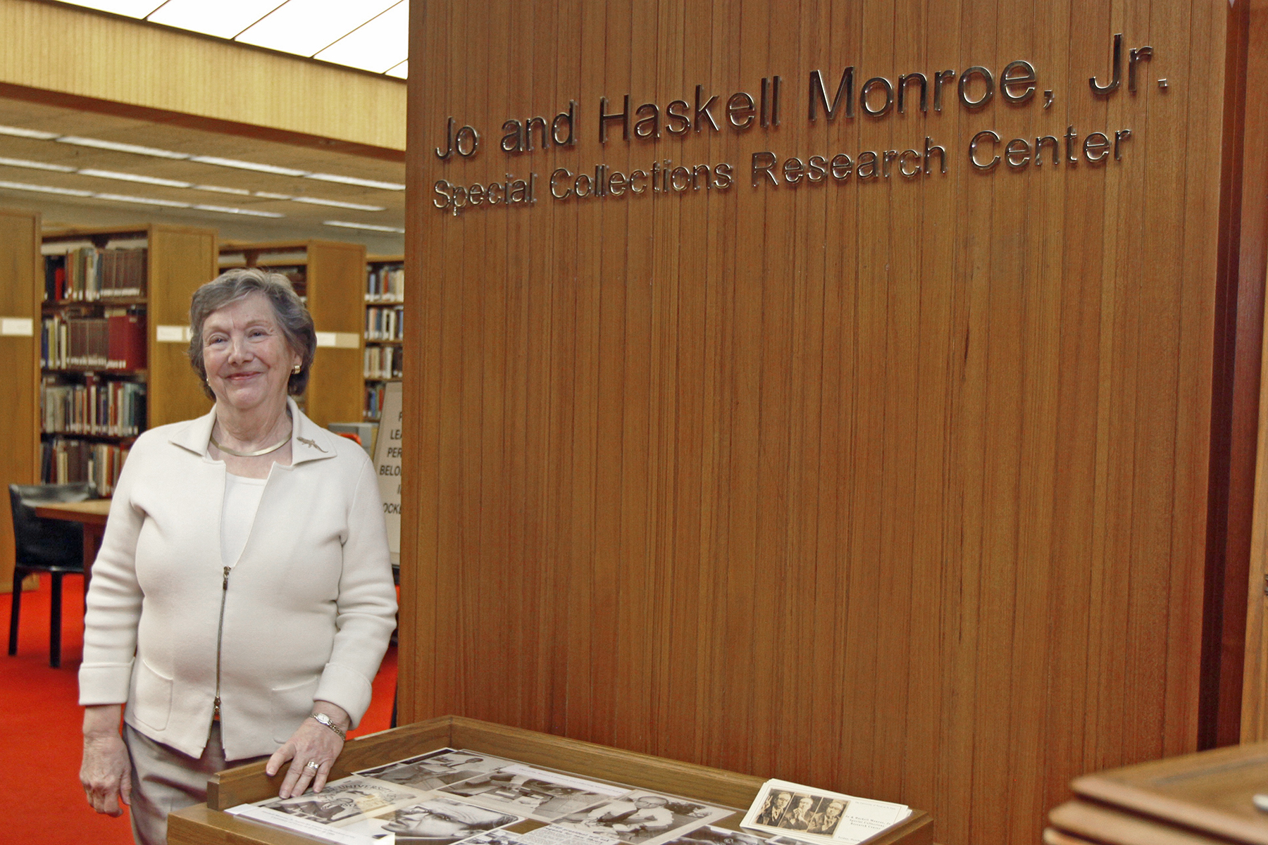 The University of Texas at El Paso's University Library in October 2016 held a reception in honor of former UTEP President Haskell Monroe Jr. and his wife, Jo Monroe, in recognition of their gift of $250,000 to the Library's Special Collections Department.  During the reception, the Research Room in Special Collections will officially change its name to the Jo and Haskell Monroe Jr. Special Collections Research Center.  Monroe Jr. is an educator and administrator who served as UTEP President from July 14, 1980, to June 30, 1987. During his tenure, he helped increase private financial support enabling the construction of the University Library and established the Junior Scholars Program that offered students the chance to take University courses for credit while still attending high school.  In 2013, the Monroe's established the Jo and Haskell Monroe Jr. Library Special Collections Endowment, which provides a permanent source of support to ensure that critical research is possible through the use of the archives of the University Library.
