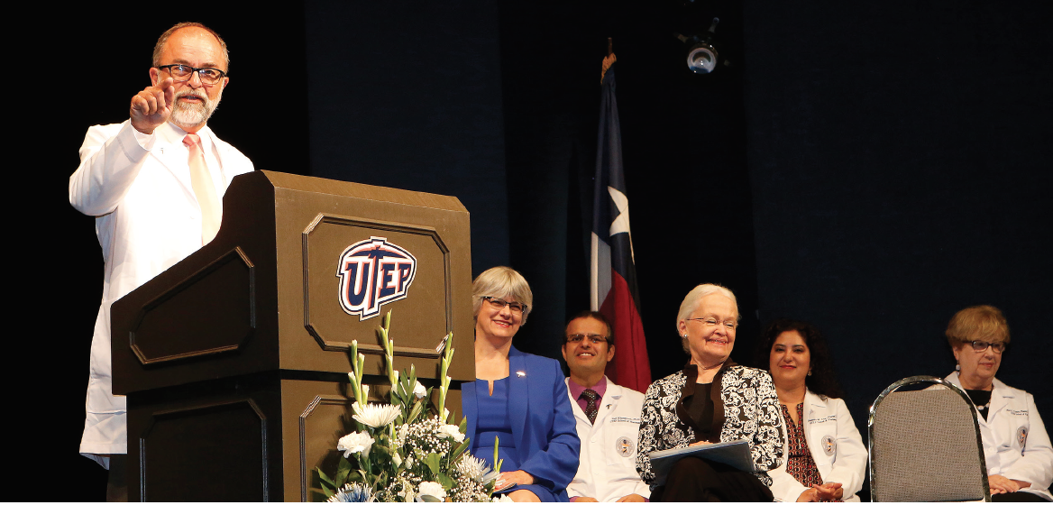 José O. Rivera, founding dean of the School of Pharmacy, speaks at the inaugural White Coat Ceremony.