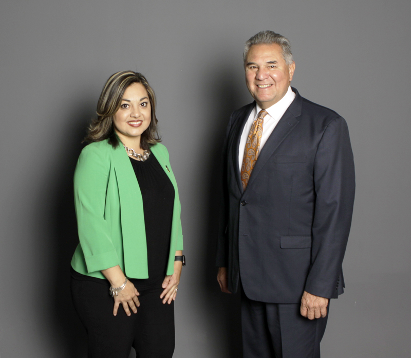 """From left: Azuri Gonzalez, director of UTEP's Center for Civic Engagement, and Alberto """"Beto"""" Lopez, assistant vice president for university relations, were honored as inaugural recipients of The University of Texas System Regents' Outstanding Employee Award."""
