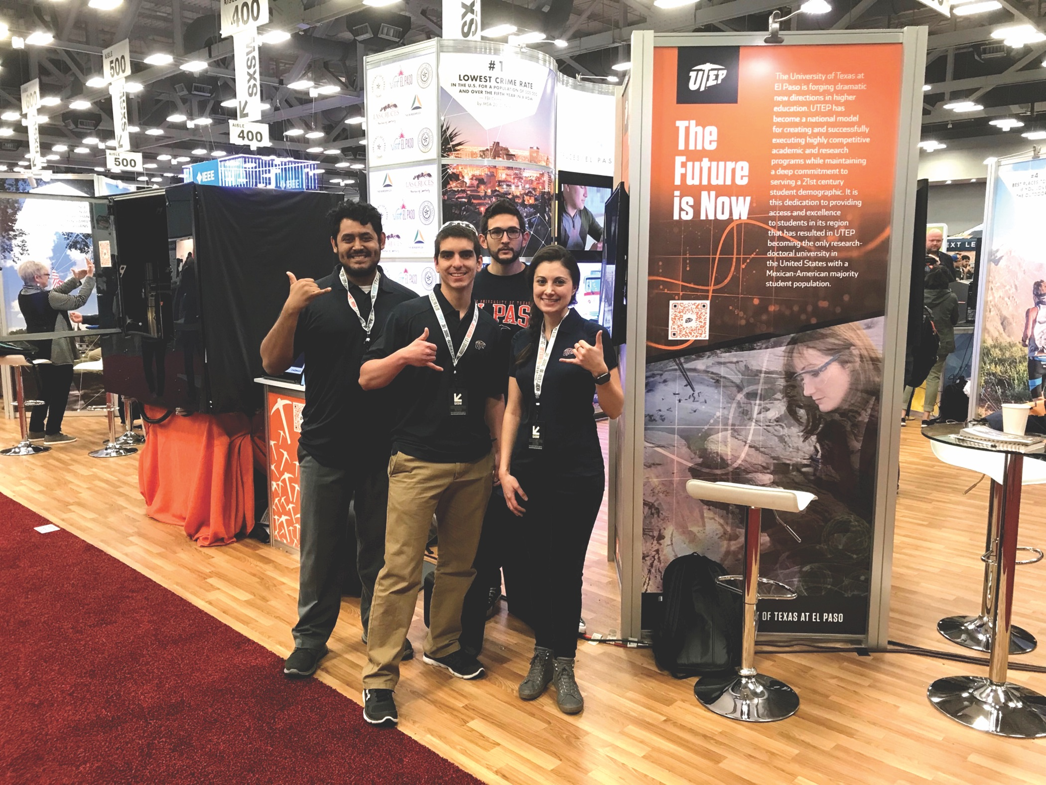 Above: A delegation from The University of Texas at El Paso attended the South by Southwest festival in Austin in March to showcase the University's growing list of technological advancements and learning opportunities. Attendees included, from left, Jose F. Motta, graduate research assistant for the W.M. Keck Center for 3D Innovation; Xavier Jimenez, graduate research assistant for the Keck Center; Erik Pavia, clinical professor in UTEP's College of Business Administration; and Laurie Banitch, development officer for Asset Management and Development. Photo: Courtesy