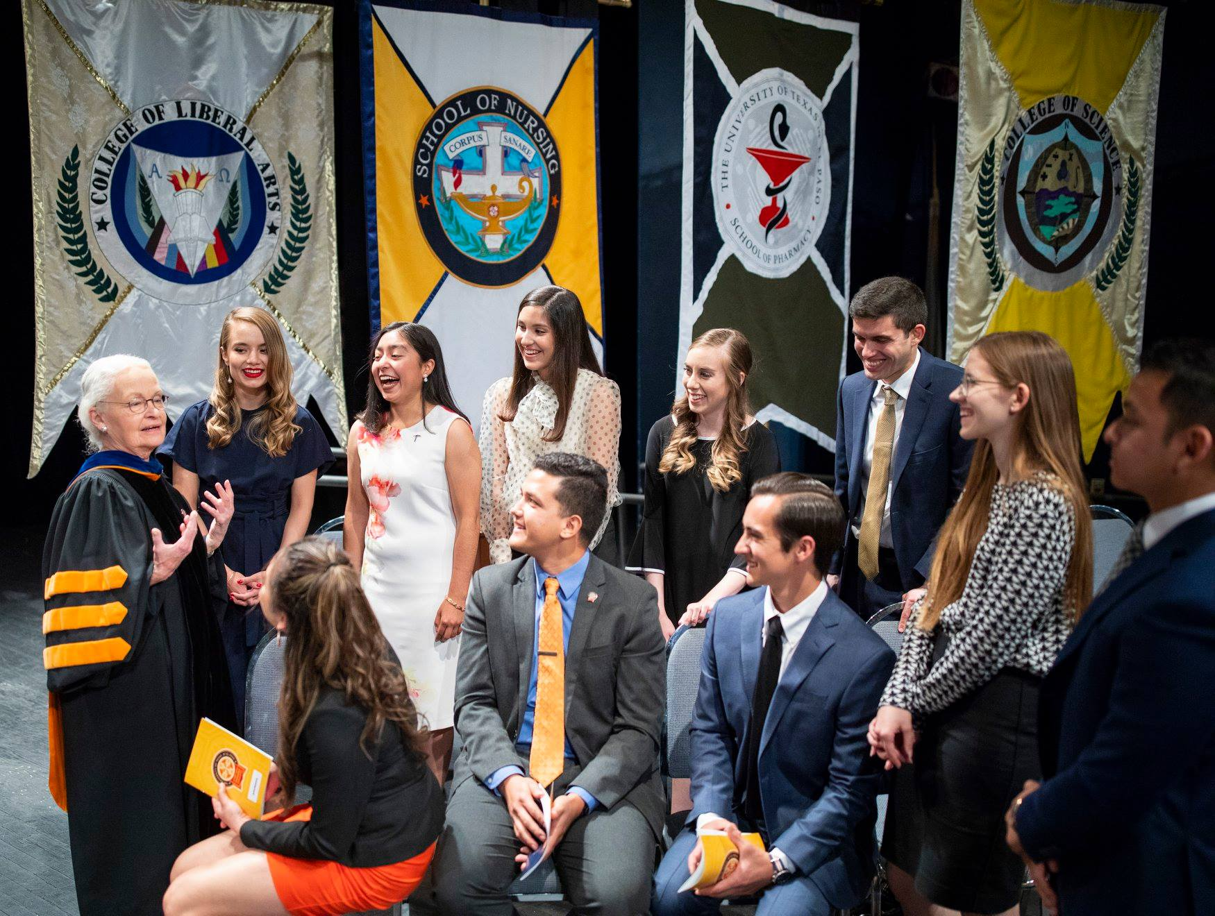 UTEP President Diana Natalicio talked to UTEP's Top Ten Seniors at the the Honors Convocation ceremony Sunday, April 28 in Magoffin Auditorium. UTEP honored the achievements of students, faculty and staff in areas of service, leadership and academics at the annual event.
