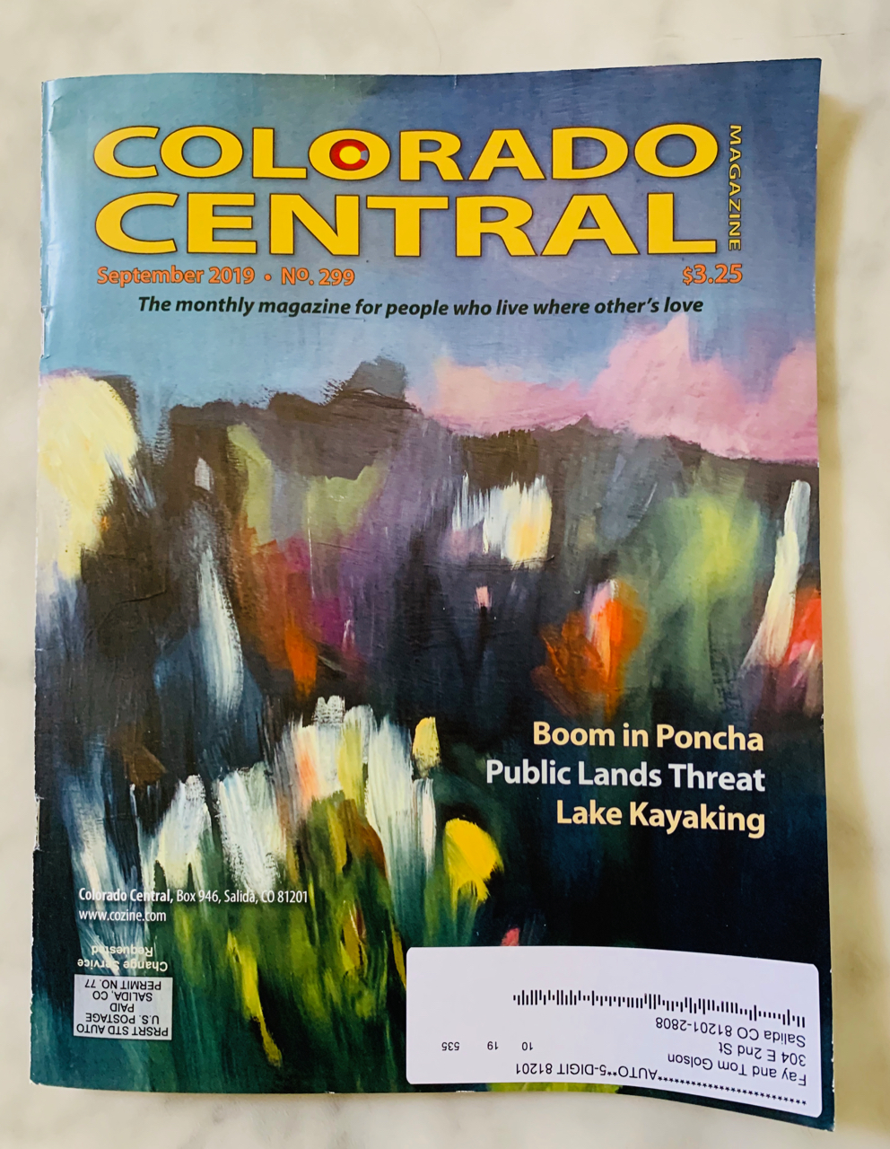 The work on the cover of Colorado Central is a piece I completed last year.. It'name is Mountain Aria, oil on canvas, 30x30.