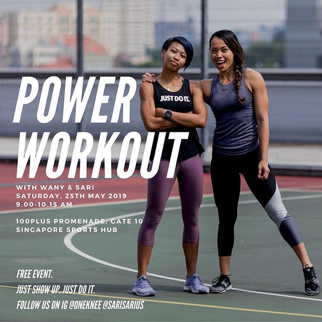 Hey! @oneknee and I just want to have a gooooood good good workout and to have fun! Come join us! It's a free event. Simply show up and #JustDoIt  Let us know if you are coming, type YASSS in the comment below. #FitSpo #Fitness #NikeTrainer 📷 by Nigel @igsphoto.sg 💪