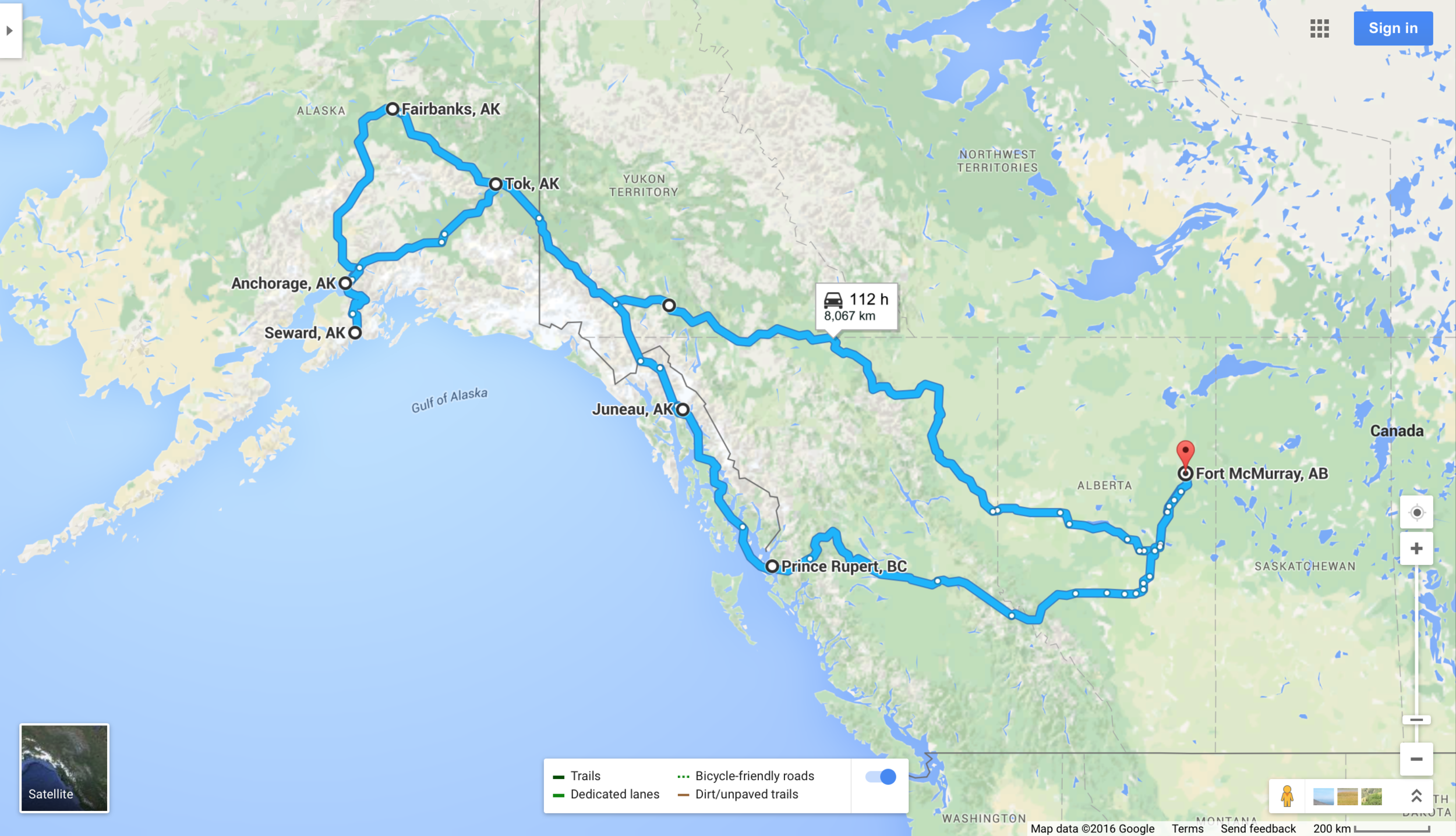 A few detours are missing but the majority of the trip is as posted.