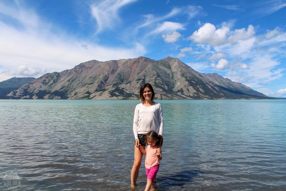 Enjoying a dip in Kluane Lake