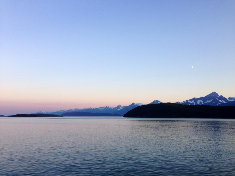 Ferry sunsets leaving Haines.