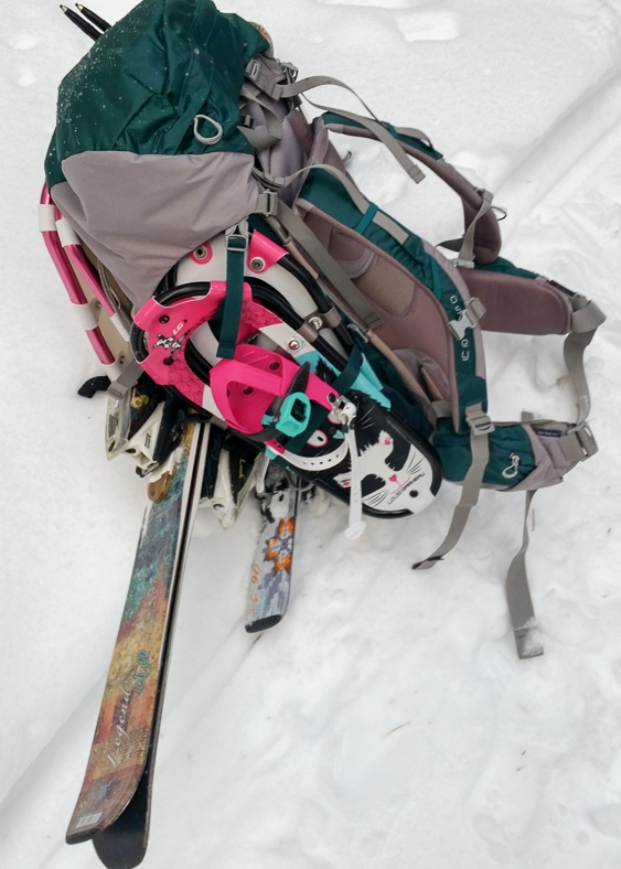 My pack loaded with our overnight gear plus double the skis and snowshoes.