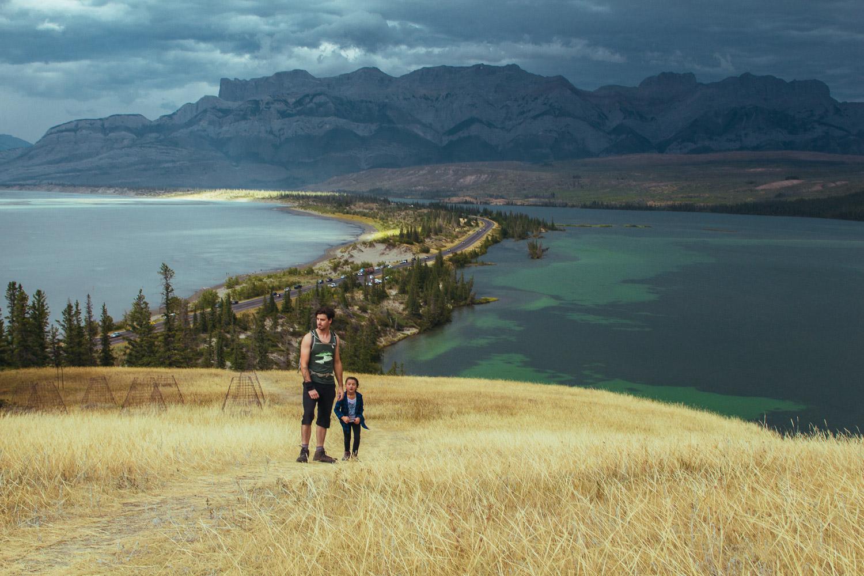 Jasper Lake on Left, Talbot lake on right, Highway 16 in centre.