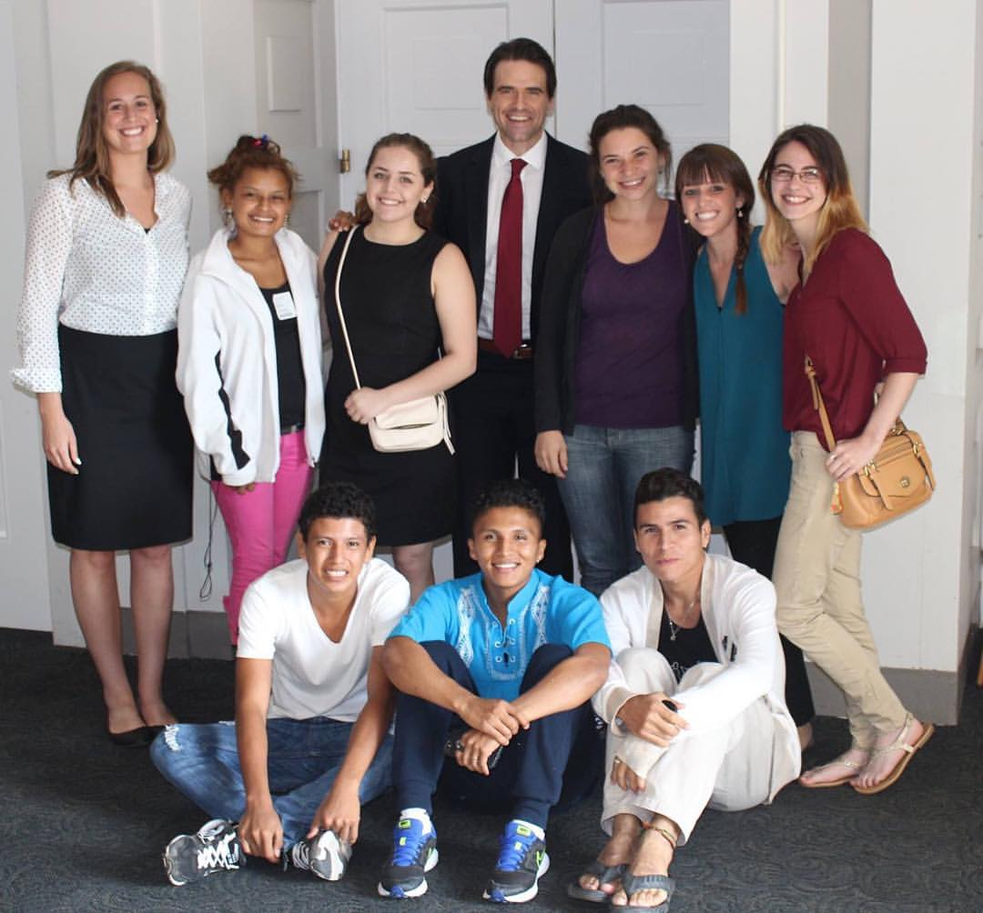 Participants from Nicaragua and Oregon meet with and interview Andrew Bogrand (Democracy International) on Capitol Hill.