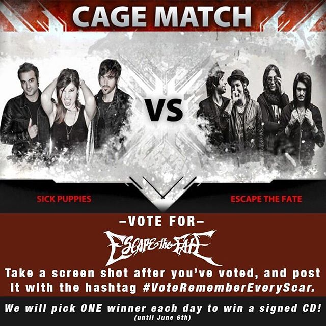 Vote For #RememberEveryScar in the Loudwire.com cagematch!!! Take a screenshot of your vote and post it with the hashtag #VoteRememberEveryScar, we will pick one winner every day to win a signed cd. #escapethefate