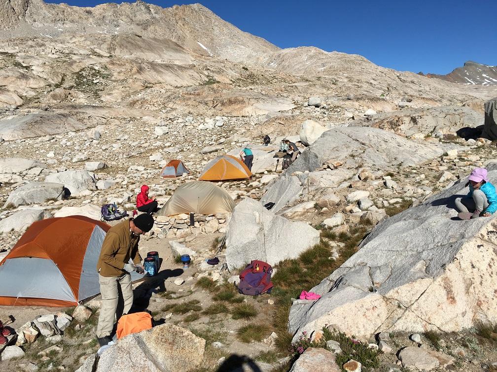"""""""Tent City"""" at Wanda Lake at the base of Muir Pass."""