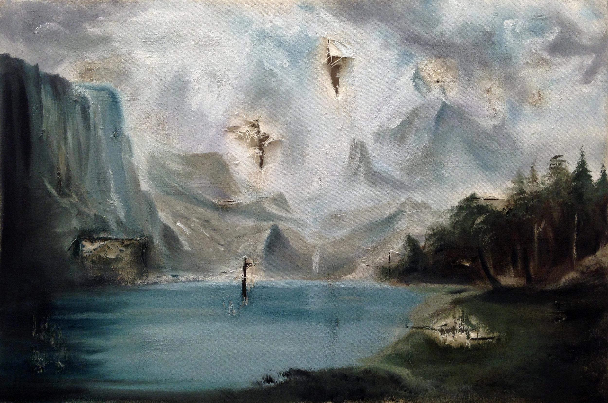 Among the Sierra Nevada Mountains - After Albert Bierstadt