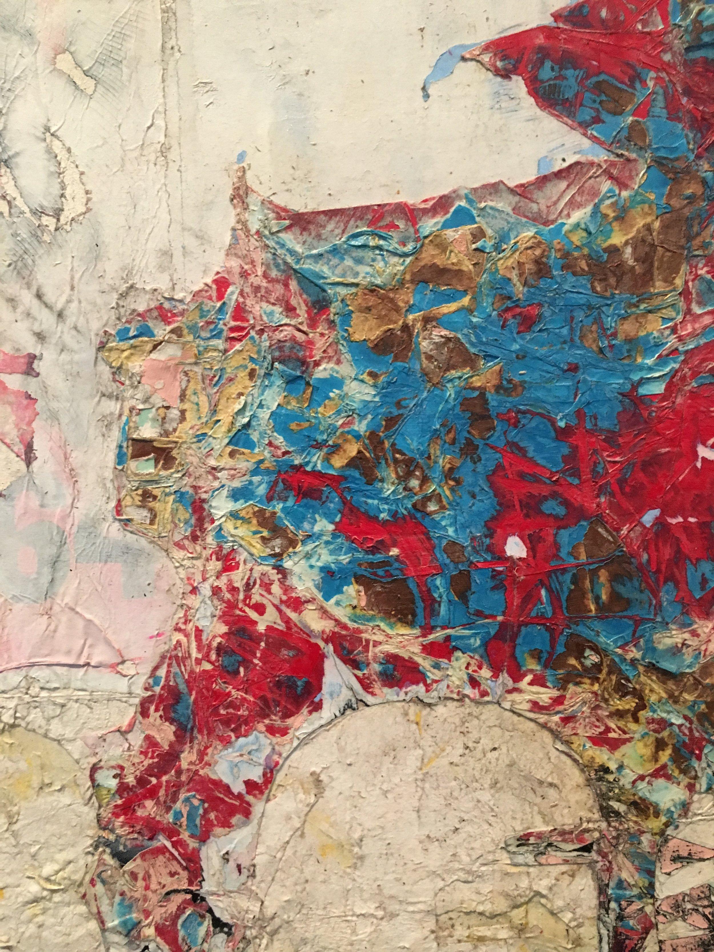 Detail of  Mark Bradford's  150 Portrait Tone  at LACMA