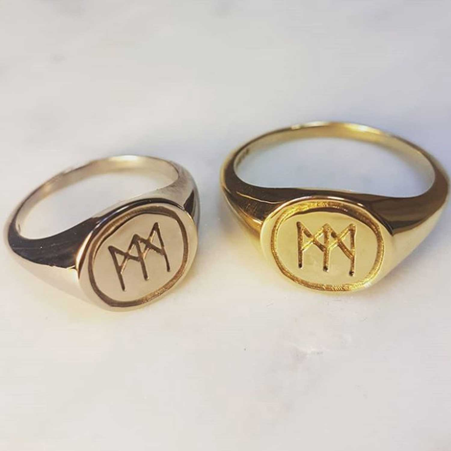 "Personalised Signet Rings - We created these 18ct gold signet rings for Iona & Joss, who wanted their initials engraved in a logo they designed themselves as alternate engagement rings.""We love them so much! Thank you :)"" - Iona McMurphy"