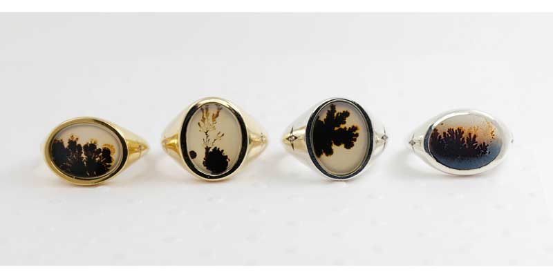 Agate signet ring