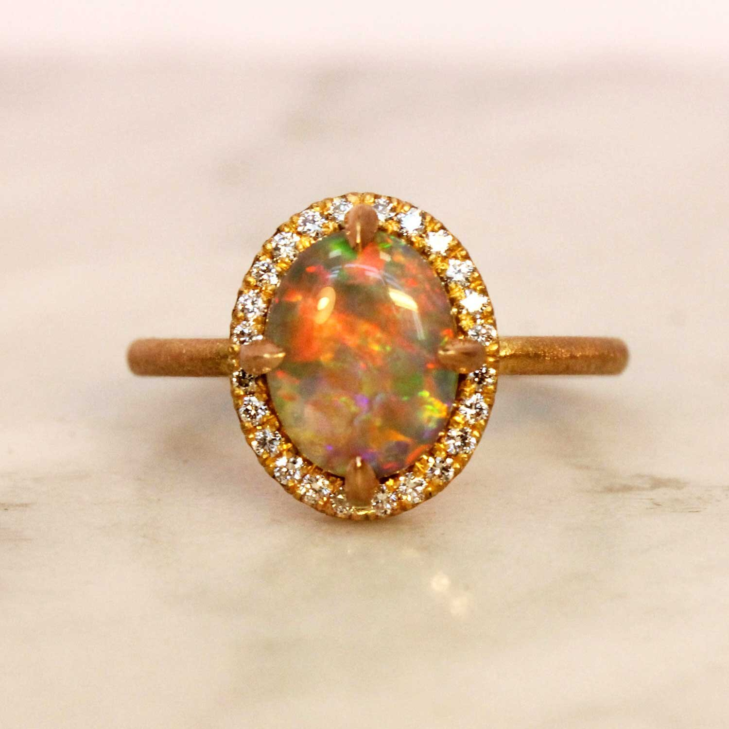 Opal Ring in Rose Gold